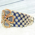 Varejo azul strass flor lace Headbands, alice banda, Faixa de Cabelo para as mulheres