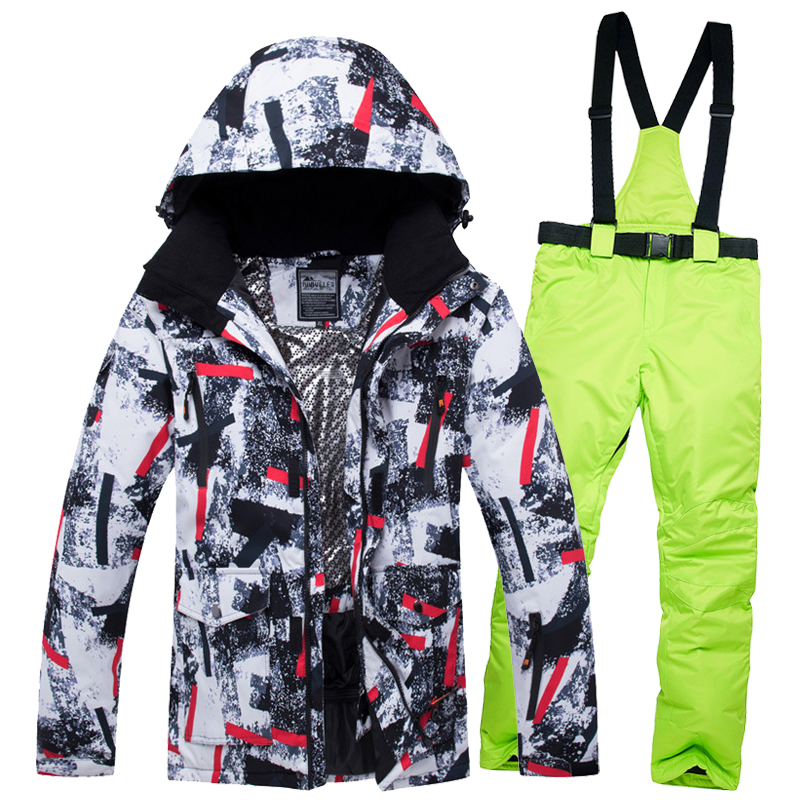 цена на New Men Ski Suit Set Hooded Ski Jacket Windproof Waterproof Outdoor Mountaineering Ski Jacket Men Free Shipping 2018 Winter