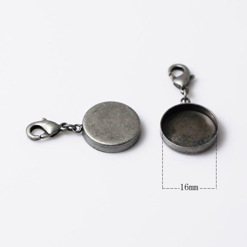 Горячая распродажа! Подвеска пустая/подвеска с раздельными кольцами и застежка-краб/Подкладка внутренний диаметр 16 мм, ID: 12205 - Окраска металла: 16mm Antique Sliver