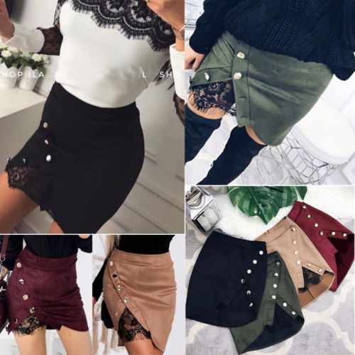 Stylish Women Lace Irregular Chic Buttons Ladies High Waisted Pencil Skirt Bodycon Suede Leather Mini Skirt