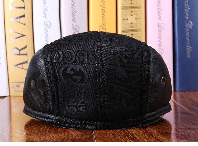 mens winter sheepskin leather baseball caps (19)