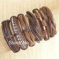 handmade friendship Wholesale (6pcs/lot) ethnic tribal genuine wrap charm male leather bracelets bangles Free shipping -S120