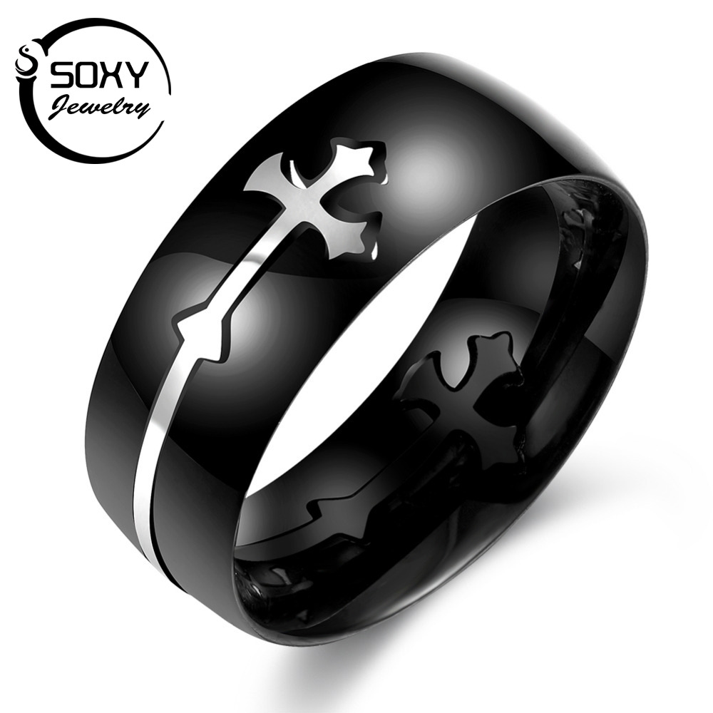 SOXY New Arrival Cross Shaped Stylish Rings For Men Black Party Rings 8MM Wide Males Finger Ring Jewelry