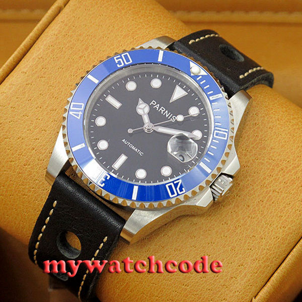 40mm Parnis black dial MIYOTA Automatic movement sapphire glass Mens Watch P459 40mm parnis white dial sapphire glass automatic miyota movement mens watch p201