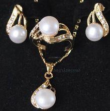 3f628543e0de Caliente Shipping + genuino Akoya blanco perla cultivada anillo pendientes  COLLAR COLGANTE set AAA caliente
