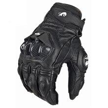 Proteção de Fibra de Carbono da motocicleta luvas cavaleiro completos passeio respirável Homens Ciclismo Corrida Luvas de Couro luva de Moto bicicleta