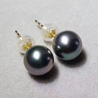 Charming 8 9mm Perfect Round Tahitian Black Pearl 925silver Gold Earrings Ear Stud