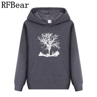 RFBear Brand Men Women Hoodies Sweatshirt Solid Color Print Men Cotton Trend Set Head Fleece Autumn