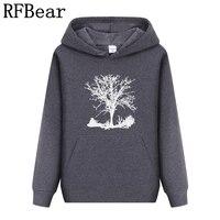 RFBear Brand Men Women Hoodies Sweatshirt Solid Color Print Men Cotton Trend Set Head Fleece Autumn