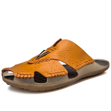 Big Size Men leather slippers Summer Beach Slippers soft comfortable men slipper shoes size 48
