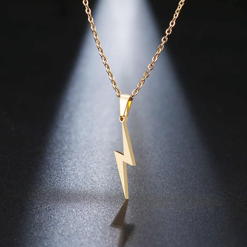DOTIFI Stainless Steel Necklace Hot Lightning Necklaces For Women Protection Pendants For Girlfriend Gifts Vintage Jewelry