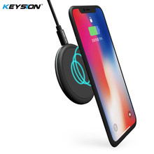 Keysion Mini Qi Wireless Charger untuk iPhone X 8 8 Plus Pu Kulit Wireless Pengisian Pad untuk Samsung Galaxy Note 8 S9 S9 + S8 S7(China)