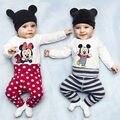 Осень зима Мужская Хлопка младенца устанавливает 0-24месяцев мальчиков одежда девушки ползунки рождество стиль комбинезон + шляпу + брюки 3 шт.