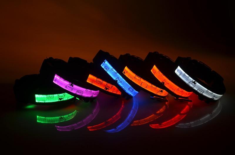 Hot! Pet Supplies Pets Dogs Cat Night Safety Collar Flashing Glow Light Up Cartoon Nylon LED Collars S M L XL 7 Colors Wholesale