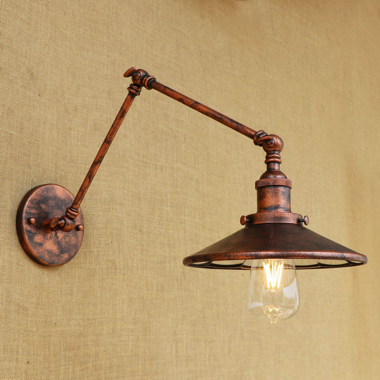 Adjustable Swing Long Arm Wall Lamp Wandlamp LED Stair Lights Edison Style Loft Industrial Wall Sconce Apliques Pared Vintage brass glass wall lights led vintage edison american home stair lighting living room adjustable arm industrial wall lamp sconce