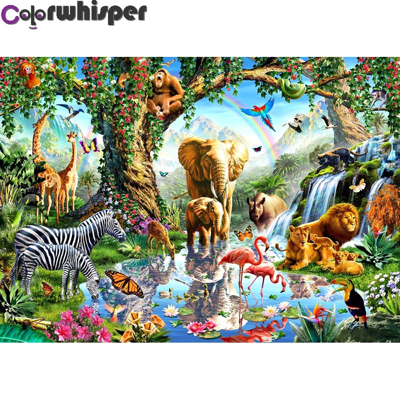 Diamond Painting Full Square/Round Jungle Forest Animal Party Cartoon Animals Daimond Painting Embroidery Cross Stitch 054QWDiamond Painting Full Square/Round Jungle Forest Animal Party Cartoon Animals Daimond Painting Embroidery Cross Stitch 054QW