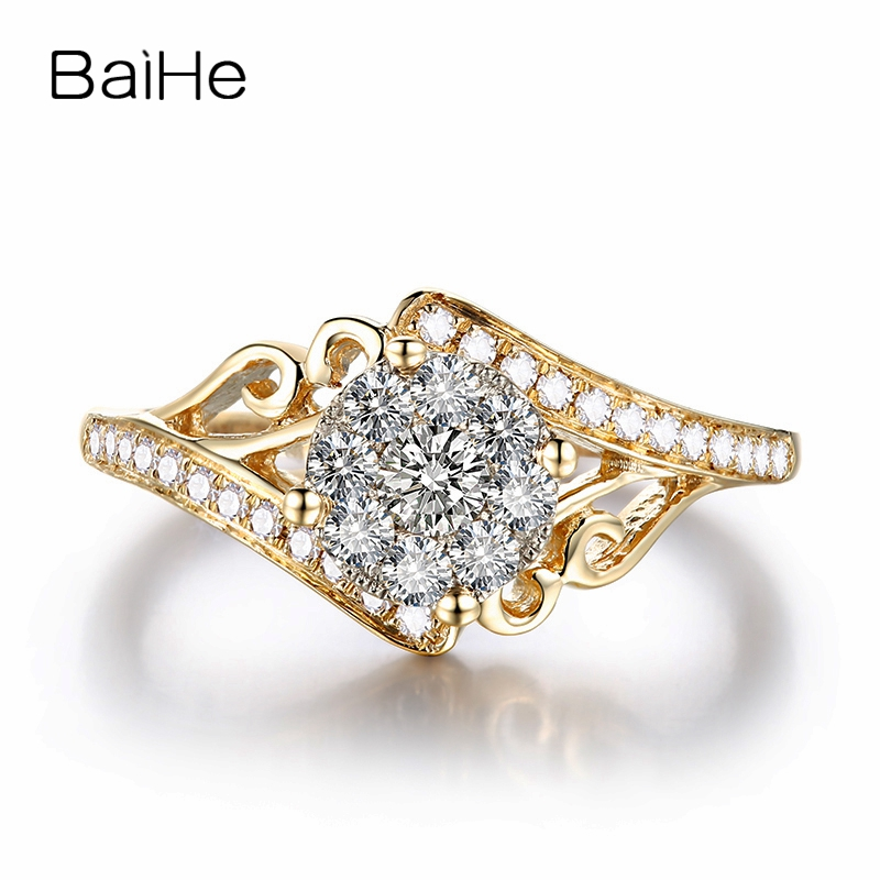 BAIHE Solid 18k Yellow Gold(AU750) 0.46ct SI/H Round cut 100% Natural Diamonds Women Engagement Fine Jewelry Trendy Gift Ring baihe solid 18k yellow gold au750 engagement
