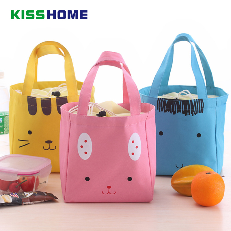 Cuty Animals Storage Lunch Bags For Women Kid Men Canvas Cooler Aluminum Tote Insulation Thermal Food Bag With Elastic Rope