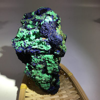 350 400g rare natural Blue iron ore malachite specimen healing crystals raw gemstone for home decoration&collection