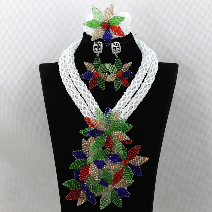 Latest Floral Necklace Set African Jewelry Sets for Nigerian Wedding Women Bridal White Indian Necklace Set Free Shipping WA660