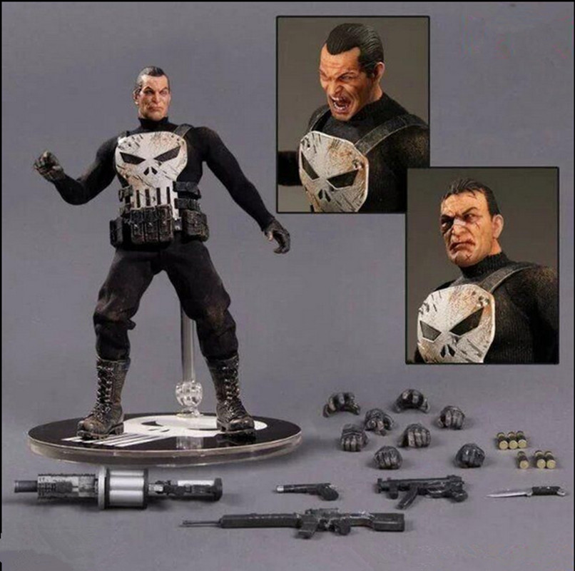 The Punisher Action Figures 1/12 Scale PVC Action Figure Collectible Model Toy Anime Punisher Superhero Toys