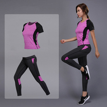 Women Yoga Clothes Hips Tracksuit Running Sports Suit Elastic Workout Leggings font b Fitness b font