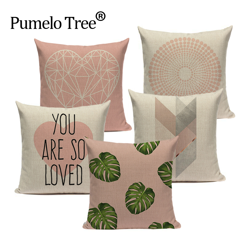 Pink Geometric Nordic Cushion Cover Tropic <font><b>Palm</b></font> Leaf Throw Pillow Cover Linen Cushion Case Sofa <font><b>Bed</b></font> Decorative Heart Pillowcase