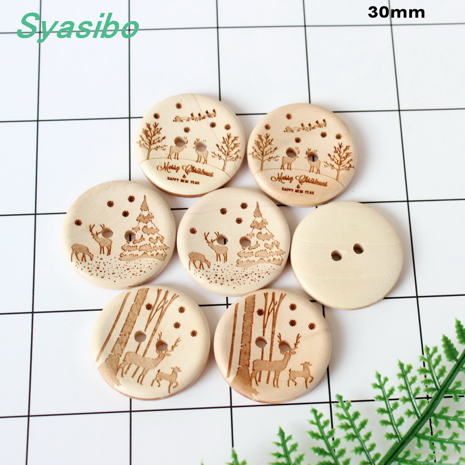 "(15pcs Each) 30mm Unfinished Natural Wooden Buttons Santa Deer Sled Snowflakes Pine Tree Christmas Buttons 1.2""-ad0170"