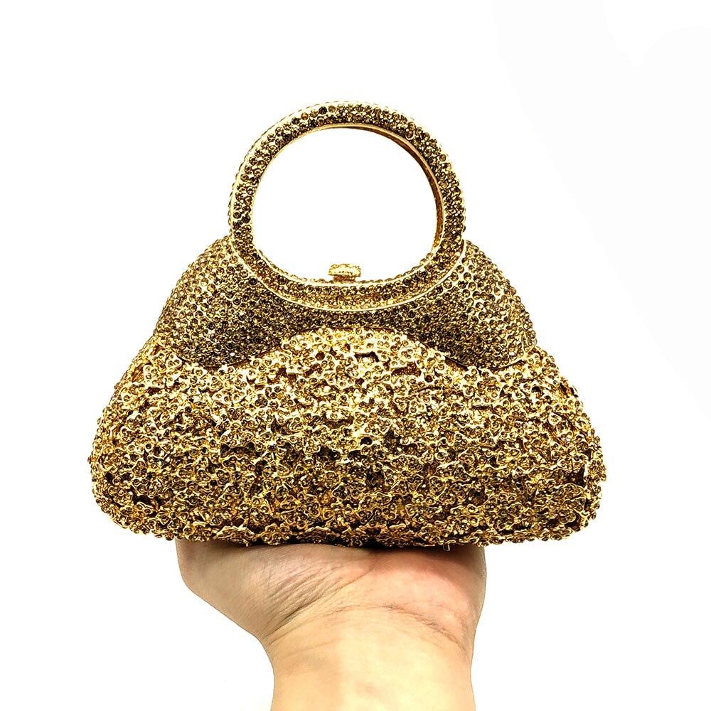 Boutique De FGG Golden Evening Minaudiere Women Crystal Clutch Bags Top-Handle Metal Diamond Wedding Bag Party Cocktail Handbag