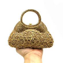 Boutique De FGG Golden Evening Minaudiere Women Crystal Clutch Bags Top-Handle Metal Diamond Wedding Bag Party Cocktail Handbag(China)