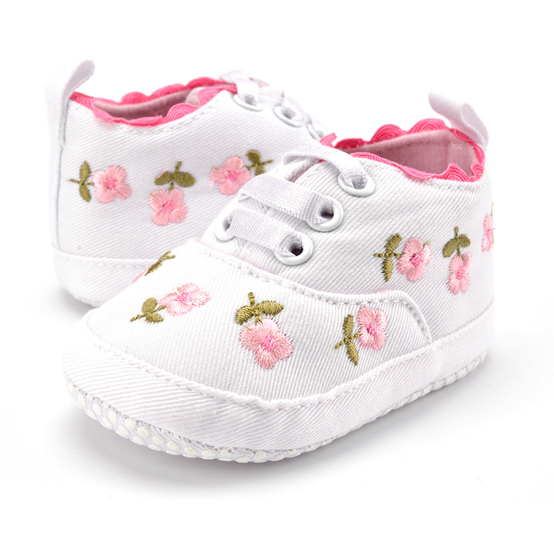 Cute Baby Shoes Girls Cotton Floral Infant Soft Sole Baby First Walker Toddler Shoes