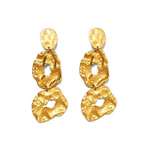 Hot Sale ZA Design Gold Metal Long Dangle Earring Women Vintage Irregular Large Statement Drop Earring Bohemian Bridal Jewelry