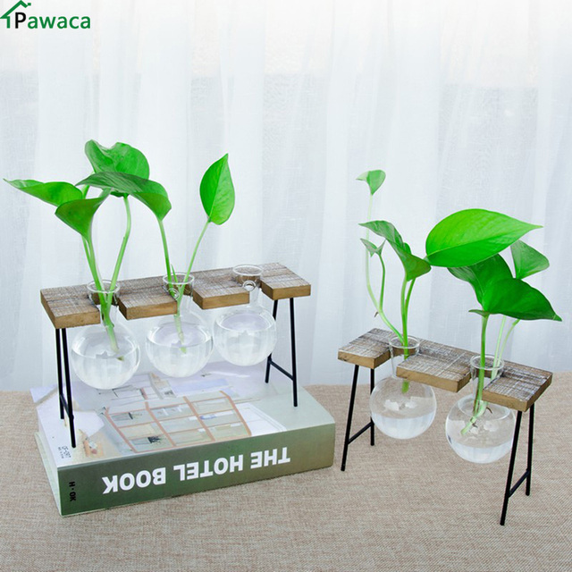 Vintage Style Glass Tabletop Plant Bonsai Flower Wedding Decorative Vase  With Wooden Base Craft Tray Home
