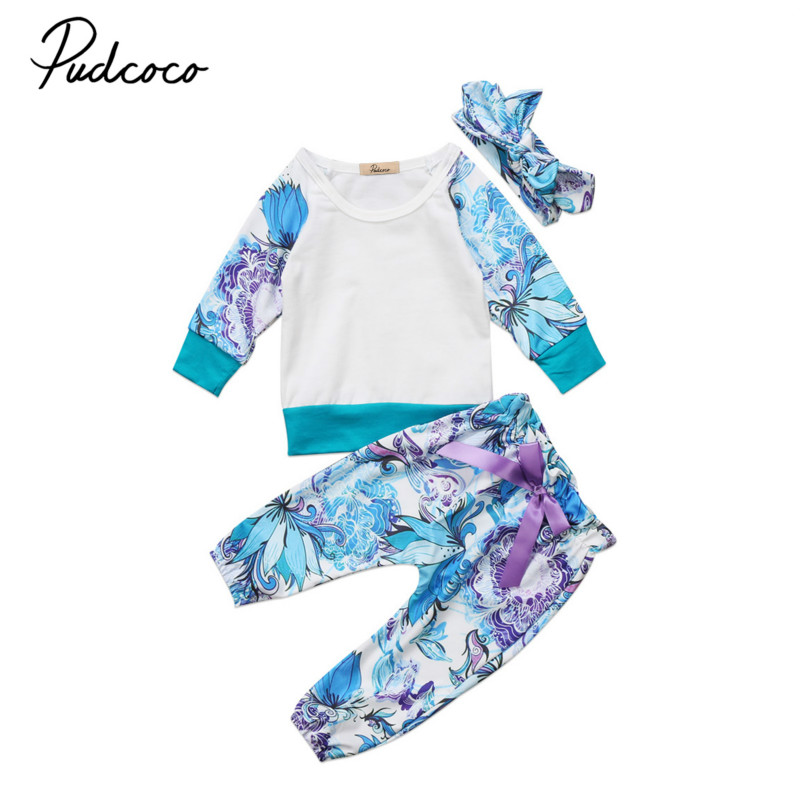 Infant Newborn Baby Girls Floral Clothes Long Sleeve Pullovers Tops T-shirt+Long Pants Leggings Trousers 3Pcs Kids Outfits Sets