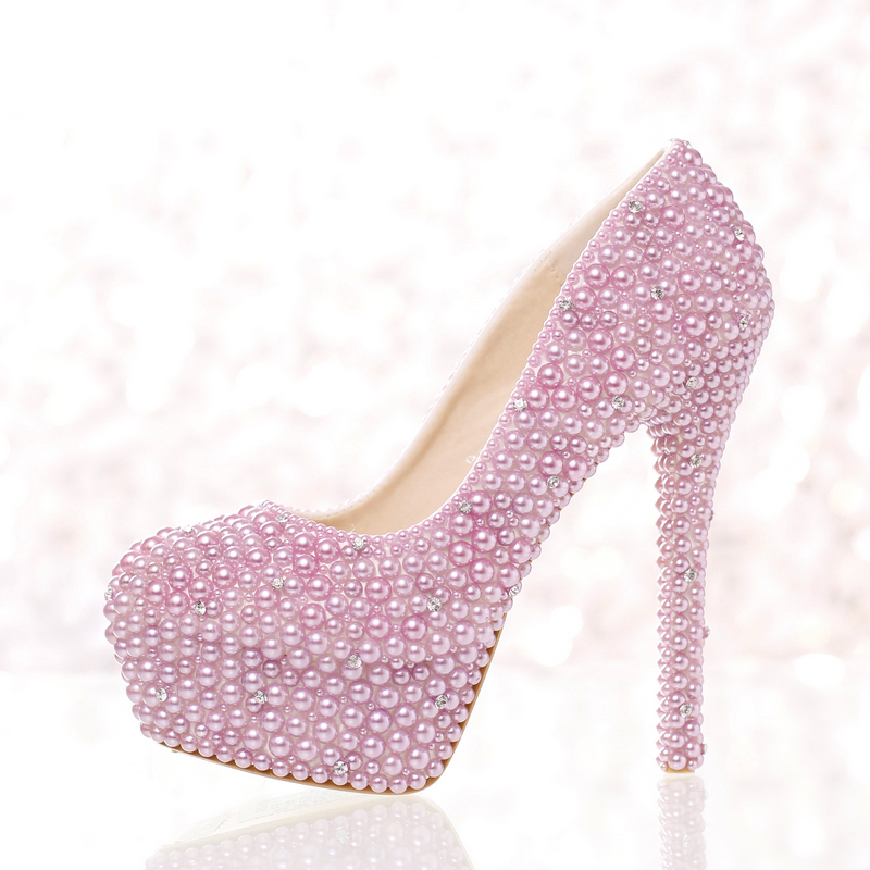 New purple pearl high heel bridal shoes round toe fashion women's shoes PUMPS rhinestone luxury wedding shoesfree shipping
