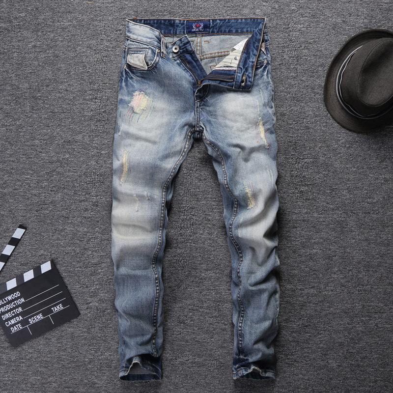 Fashion Streetwear Men Jeans Light Blue Slim Fit Destroyed Ripped Jeans For Men Embroidery Patch Design Vintage Classical Jeans