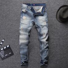 Fashion Streetwear Men Jeans Light Blue Slim Fit Destroyed Ripped Jeans For Men Embroidery Patch Design Vintage Classical Jeans цена в Москве и Питере