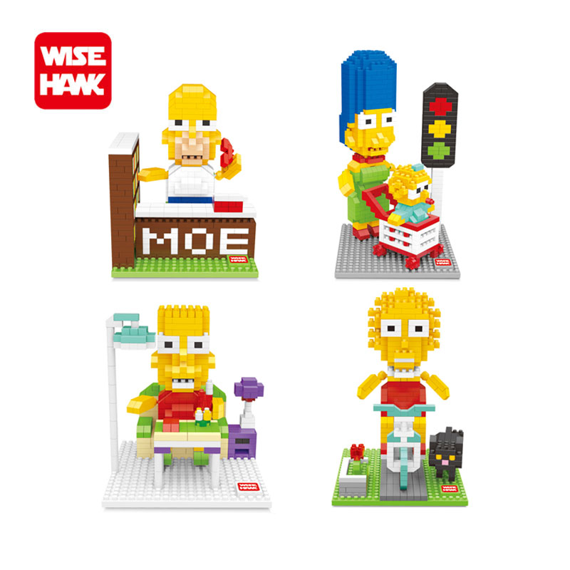 Fun nano blocks the homer Simpsons diy action figures hobbies ego hot gifts mini micro diy diamond building bricks toys kids. building blocks agent uma thurman peeta dc marvel super hero star wars action bricks dolls kids diy toys hobbies kl069 figures