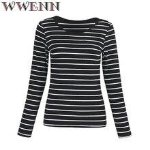 T Shirt Women Tops Casual Striped Woman O-Neck Tee Shirt Femme Cotton T-Shirt Plus Size 2018 New Stripe Long Sleeve blusa bts недорого