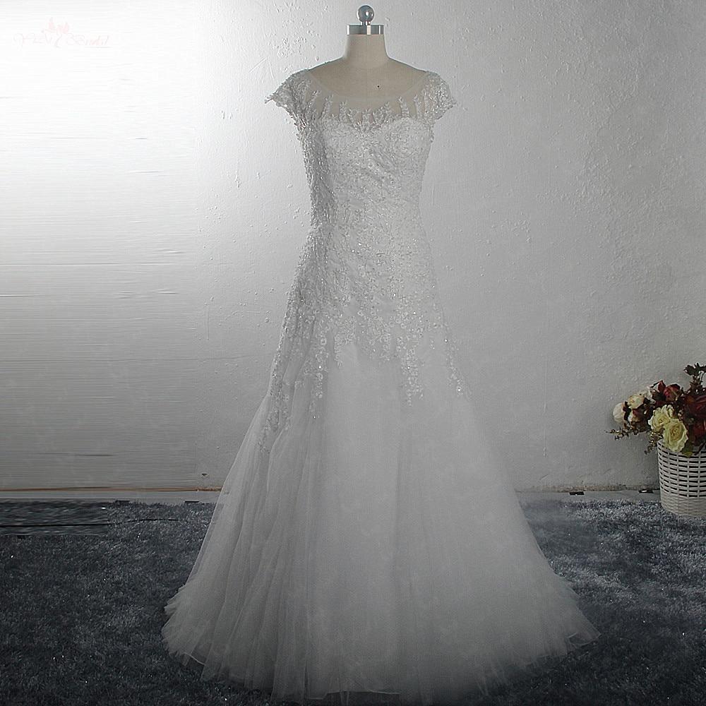 RSW1485 Curto Trem Trumpet Vestido De Noiva Elegante Cap Mangas de Renda Trouwjurk