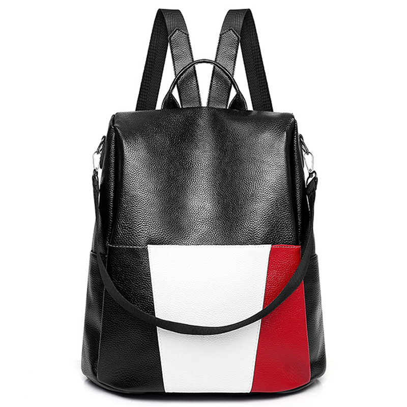 NEW-Creative Soft Pu Waterproof Backpack Bag Fashion Trend Stitching Contrast Color