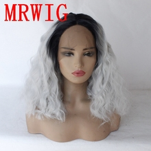 MRWIG 10in-16in 1b#/Silver Grey Short Bob Curly Synthetic Front Lace Wig Heat Resistant Fiber for Woman