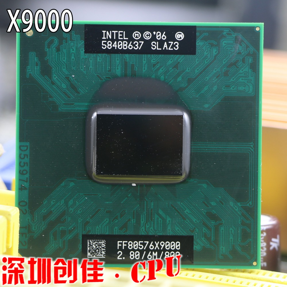 Original Intel Top Core 2 Extreme X9000 cpu processor 2.8GHz 6MB 800MHz socket P scrattered pieces For GM965 PM965 T9300 t9500