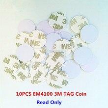 10 Pz/lotto 125khz EM4100 TK4100 3M Adesivo Tag Moneta RFID Carta di 20/25mm di Accesso di Sola Lettura scheda di controllo