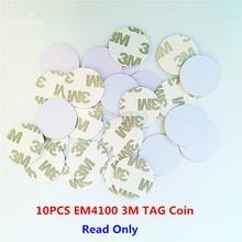 10 pçs/lote 125khz em4100 tk4100 3m adesivo moeda tag rfid cartão 20/25mm só ler cartão de controle acesso