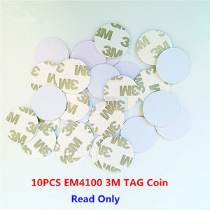 Image 1 - 10Pcs/lot 125khz EM4100 TK4100 3M Adhesive Coin Tag RFID Card  20/25mm Read Only Access Control Card