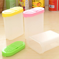 JETTING New Kitchen Necessary Plastic Spices Box Oval Seasoning Can with Cover Kitchen Tools Pepper Seasoning Box