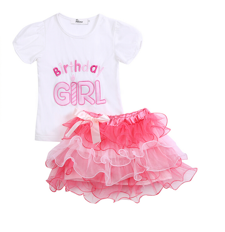 274a80f80037 Cute Short Sleeve Girls Birthday Outfits Toddler Baby Girl Princess T shirt  Tops Layered Tutu Skirts Pink Clothes Set Outfit NEW