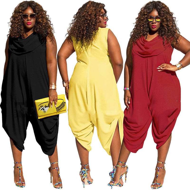 Women Plus Size Jumpsuits Cowl Neck Sleeveless Plain Loose Pleated Wide Leg Pants Playsuits One Piece Romper For Ladies 5XL 2019