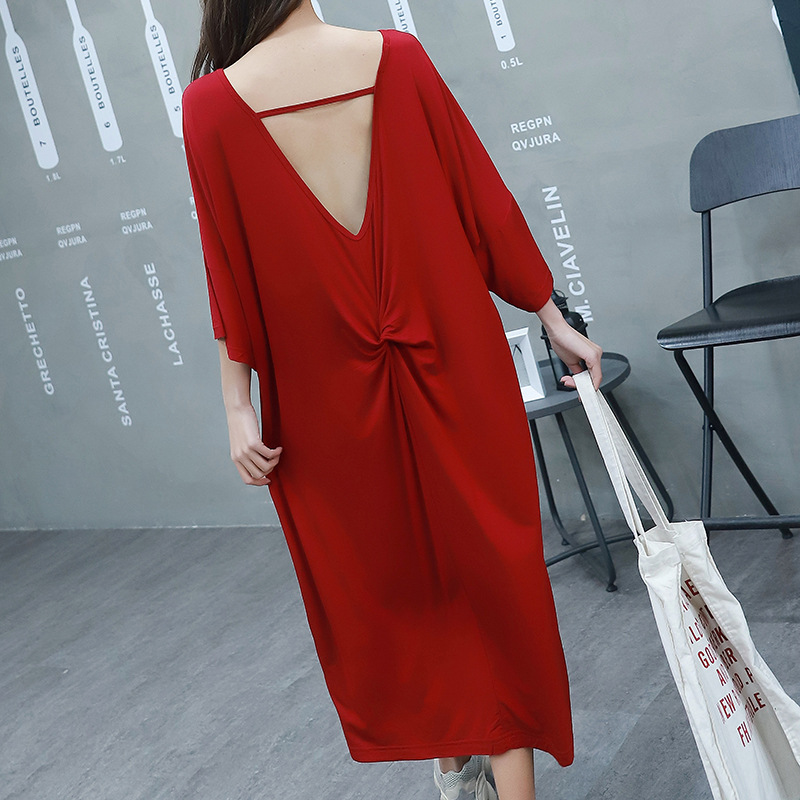 2019 summer women sleep dress loose dresses sexy backless short-sleeved nightdress both for outside wear   nightgowns     sleepshirts